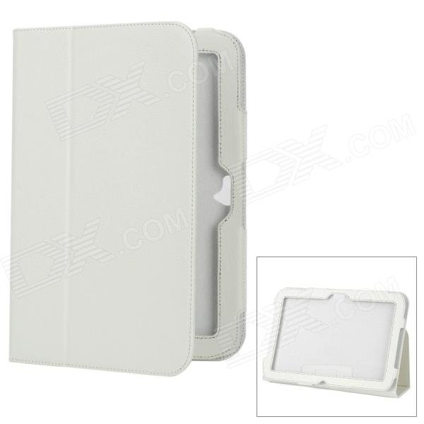 Protective Flip-Open Genuine Leather Case for Google Nexus 10 - White protective pu leather flip open case for google nexus 10 white