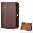 Protective Flip-Open Genuine Leather Case for Google Nexus 10 - Dark Brown
