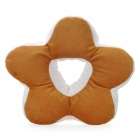 JL-M06-3-008 Flower Style Soft Plush Sleeping Rest Pillow - Coffee + White