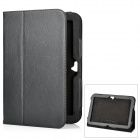 Protective Flip-Open Genuine Leather Case w/ Holder for Google Nexus 10 - Black
