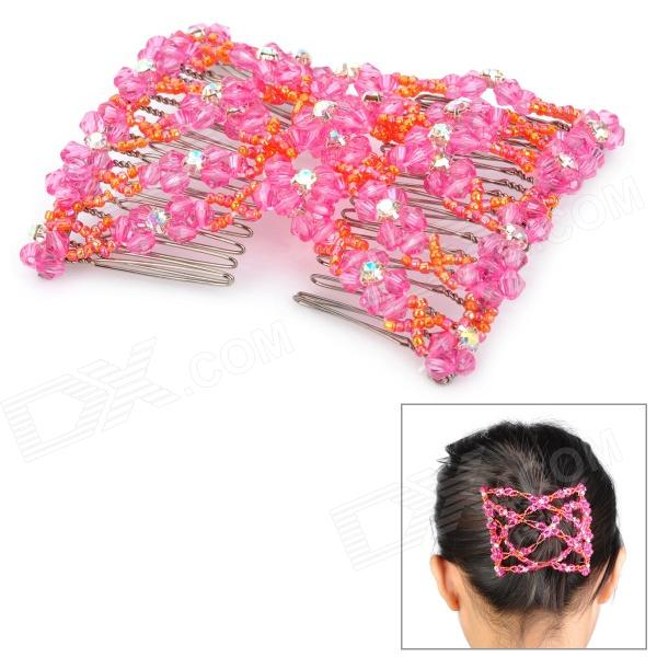 Fashion Stretchy Beads + Rhinestones Double Hair Combs Clips - Pink + Orange