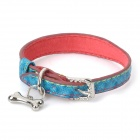 Cute Heart Pattern PU Pet Dog Collar w/ Bone Pendant - Dodger Blue + Red (Size S)
