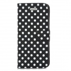 Dots Pattern PU Leather Cover PC Back Case Stand for Iphone 5 - Black + White