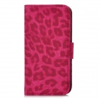 Leopard Protective PU Leather Cover PC Back Case Stand w/ Card Slots for Iphone 5 - Deep Pink