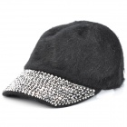 Ladies Stars Plush Hat - Black + Silver