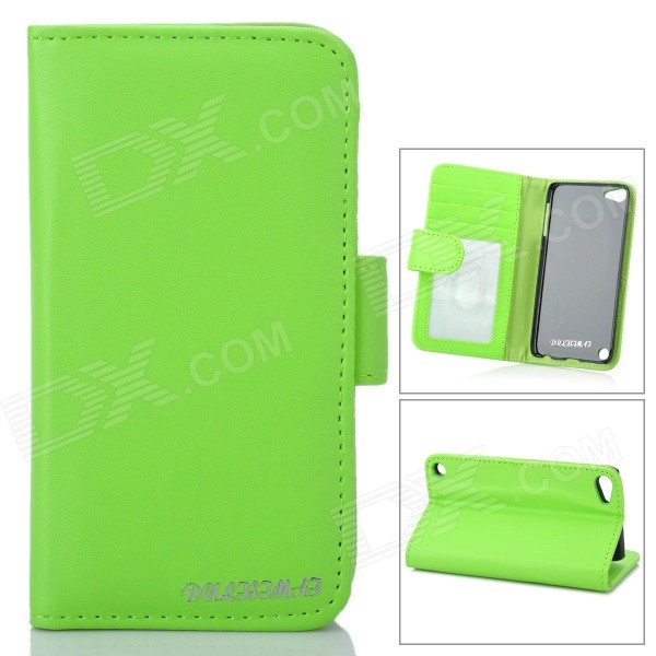 Protective PU Leather Cover PC Back Case w/ Card Slots for Ipod Touch 5 - Green for ipod touch 6 5 black friday series hard pc cover shell style h