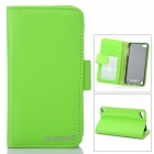Protective PU Leather Cover PC Back Case w/ Card Slots for Ipod Touch 5 - Green