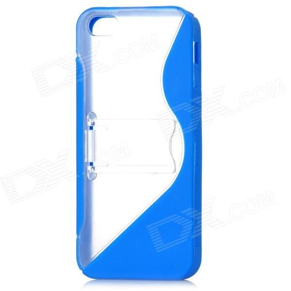 Protective Silicone Hard Back Case Stand for Iphone 5 - Dark Blue + Transparent protective matte silicone case for iphone 5 5s dark blue white