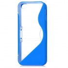 Protective Silicone Hard Back Case Stand for Iphone 5 - Dark Blue + Transparent