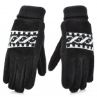 Anti-slip Suede Rib Knit Warming Gloves for Men - Black