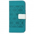 Protective PU Leather Cover PC Back Case w/ Card Slots for Iphone 5 - Mint Green Blue