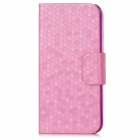Snakeskin Pattern PU Leather Cover PC Back Case for Iphone 5 - Deed Pink + Pink + White
