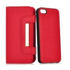 Detachable Protective Genuine Leather Cover PC Back Case w/ Card Slots for Iphone 5 - Deep Pink