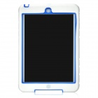 Protective Anti-drop Silicone Back Case w/ Stand for Ipad MINI - White + Blue