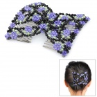 Rose Pattern Stretchy Crystal Beads Double Hair EZ Combs Clips - Purple + Black
