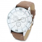 DINIHO 1144G Fashion Men's PU Band Quartz Analog Wrist Watch - Brown + White (1 x SR626SW)