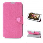 Protective PC + PU Leather Case for Samsung Galaxy Note 2 N7100 - Deep Pink