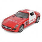 FY8080P Alloy Drive Zurück Racing Police Car Toy w / Scheinwerfer + Alarm Sound - Red + White
