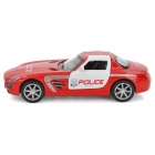 FY8080P Alloy Drive Back Racing Police Car Toy w/ Headlight + Alarm Sound - Red + White