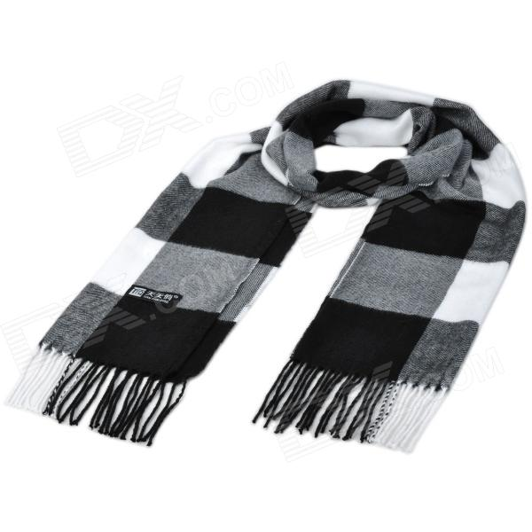 Grid Pattern Cashmere Style Scarf for Men - Black + White + Grey