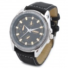 DINIHO 5021G Fashion Man's PU Band Quartz Analog Waterproof Wrist Watch - Black (1 x LR626)