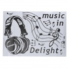 JiaMing JM8265 Decorative Headphones Pattern PVC Wall Paper Sticker - Black + White (50 x 70cm)