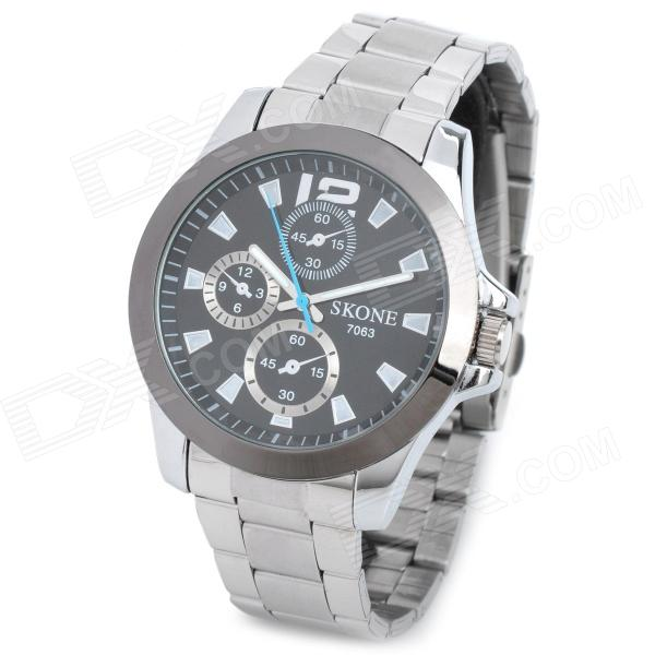 SKONE 7063 Men's Fashion Stainless Steel Band Quartz Wrist Watch - Silver + Black (1 x CR1032) skone fashion simple watches for women lady quartz wristwatch stainless steel band watch for woman relogio femininos