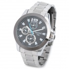 SKONE 7063 Men's Fashion Stainless Steel Band Quartz Wrist Watch - Silver + Black (1 x CR1032)