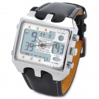 Fashion Multi-Function Man's PU Band Analog + Digital Wrist Watch w/ Calendar + Alarm - Black