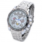 AMUTN 60087S Business Man Stainless Steel Quartz Analog Waterproof Wrist Watch - Silver + Black