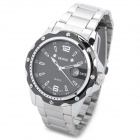 SKONE KS87147 Fashion Man Stainless Steel Quartz Analog Waterproof Wrist Watch w/ Calendar - Silver