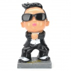 Cute Gangnam Style Cartoon Resin Decoration Piggy Bank - Black + White