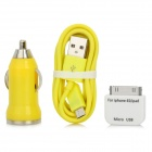 Car Cigarette Lighter Charger w/ USB to Micro USB Cable + 30-Pin Adapter for iPhone + More - Yellow