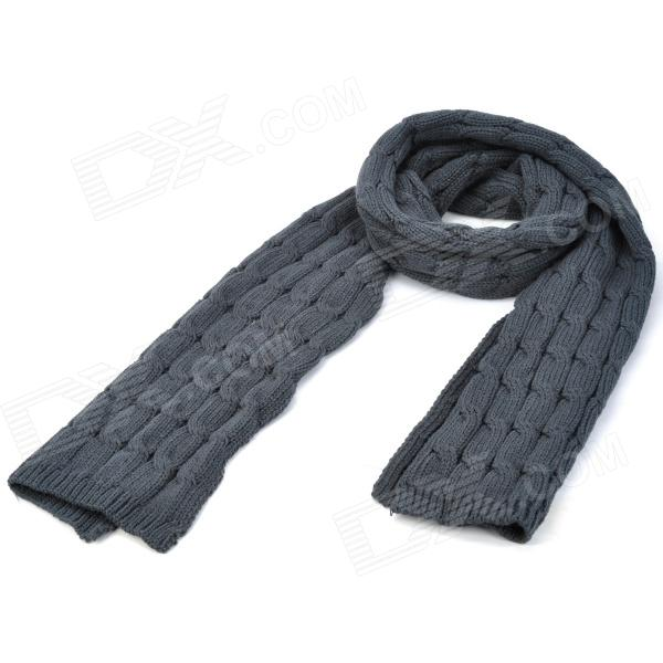 Men's Twist Pattern Wool Scarf - Dark Blue