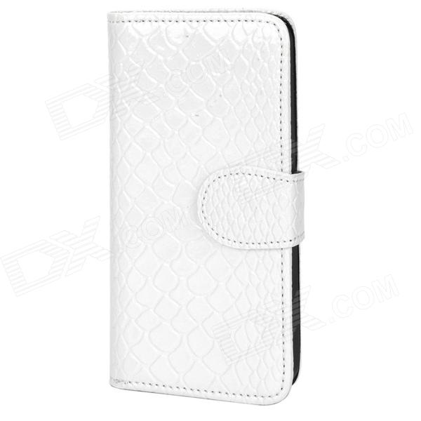 Snake Pattern Protective PU Leather Flip-open Case w/ Card Slots for Iphone 5 - White angibabe snake skin pattern flip open pu leather case with card slots for iphone 6 4 7 pink