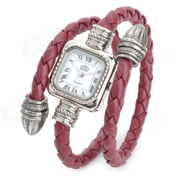 B071 Fashion Women's PU Band Quartz Analog Wrist / Bracelet Watch - Red + Silver (1 x LR626) fashion lady s pu band quartz analog waterproof bracelet wrist watch black 1 x lr626