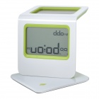 "Solar Powered 2.3"" LCD Digital Clock w/ Calendar / Alarm / Thermometer - Green (1 x AAA)"