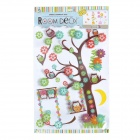 KK016 3D Owl in Tree with Moon Style Multi-Layer Decoration Sticker for Home - Multicolor