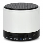 S10 Portable Ceramic 2-Channel Bluetooth v2.1 Speaker w/ Microphone / TF / LED - White + Black