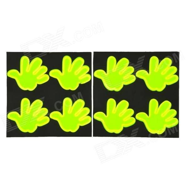 Safety Palm Hand Style Reflective Sticker - Fluorescence Green (8 PCS) 040807 bicycle reflective wheel stripe sticker green