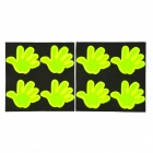 Safety Palm Hand Style Reflective Sticker - Fluorescence Green (8 PCS)