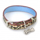 DT-1030 PU Adjustable Pet Dog Collar Leash - Black + Blue (Size S)