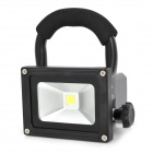 Portable Outdoor 10W Rechargeable Waterproof LED White Light Project Lamp w/ 2-Flat-Pin Plug - Black