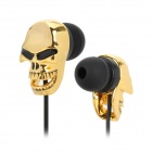 Skull Style 3.5mm Plug In-Ear Earphones - Golden + Black