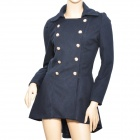 YLY-B9200 Lady's Double-Breasted Long Jacket Coat - Dark Blue (Size L)