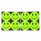 Cute Smile Faces High-Visibility Decorative Luminous Stickers - Fluorescence Green (8 PCS)