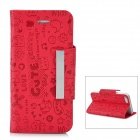 Cute Cartoon Patterns Protective PU & Plastic Flip-Open Case for Iphone 5 - Red