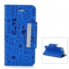 Cute Cartoon Patterns Protective PU & Plastic Flip-Open Case for Iphone 5 - Blue