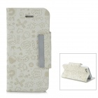 Cute Cartoon Patterns Protective PU & Plastic Flip-Open Case for Iphone 5 - White