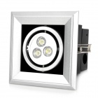 3W 6500K 90~100lm 3-LED White Light Lamp - Silver + Black (100~240V)
